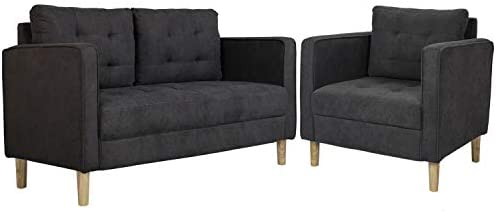 AODAILIHB 55″/30″ Modern Soft Cloth Tufted Cushion Loveseat Sectional Sofa Set Small Space Configurable Couch Set of 2