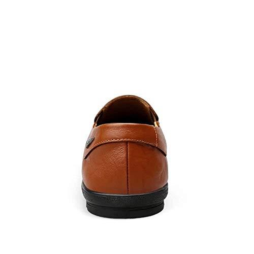 Con Zapatos Conducción Hombres Muestra Mocasines Moda Eu Se color Respirable Como 47 Light De Fuweiencore Brown Hombres Ligeros Tamaño Cuero Para Forro Casuales XdPXWq