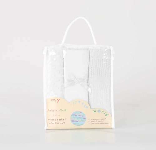 Baby Bedding Moses Basket/Crib Bed Starter Set Bundle - Sheet, Cellular & Popcorn Blankets - White IdealHomeInteriorsLtd