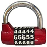 BaouRouge 5-Digits Resettable Combination padlock 65mm (RED) by BaouRouge