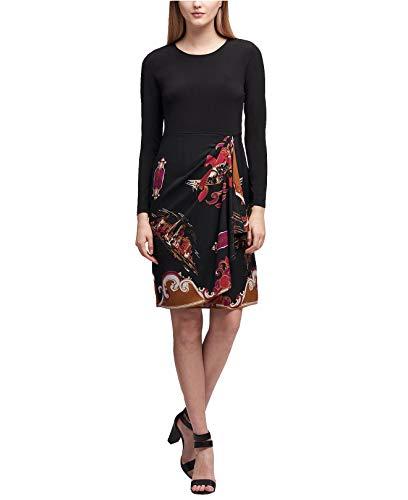 (DKNY Women's Printed-Skirt Faux-Wrap Dress (Black Combo,)