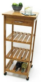 Lipper International Bamboo Kitchen Trolley
