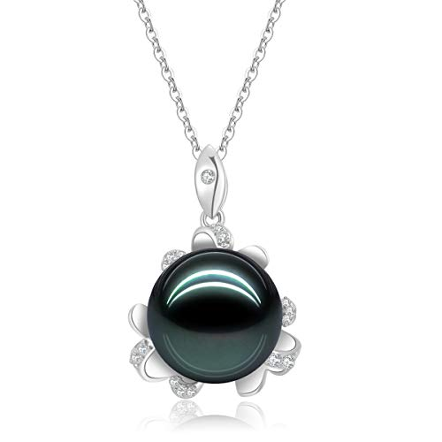 18K Gold Round Diamond Necklace 12mm Natural Black Tahitian South Sea Pearl Blossom Pendant for Women with 18