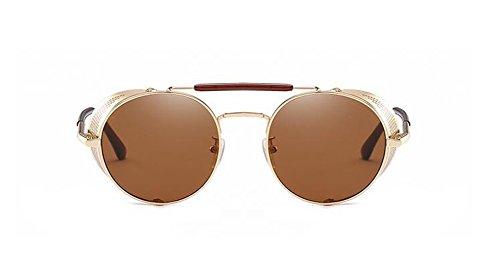 du de style cercle Lennon polarisées retro rond Tranche en Thé vintage de lunettes métallique inspirées soleil A wBRBFqI