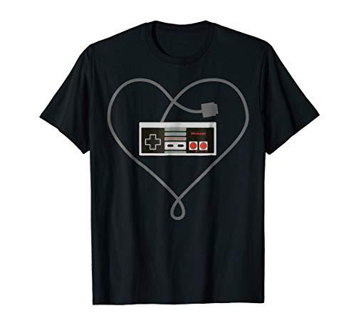 Nintendo NES Controller Heart Cord Graphic T-Shirt for men, women, kids