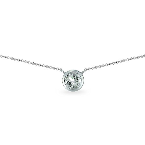 Sterling Silver Light Aqumarine 6mm Round Bezel-Set Dainty Choker Necklace