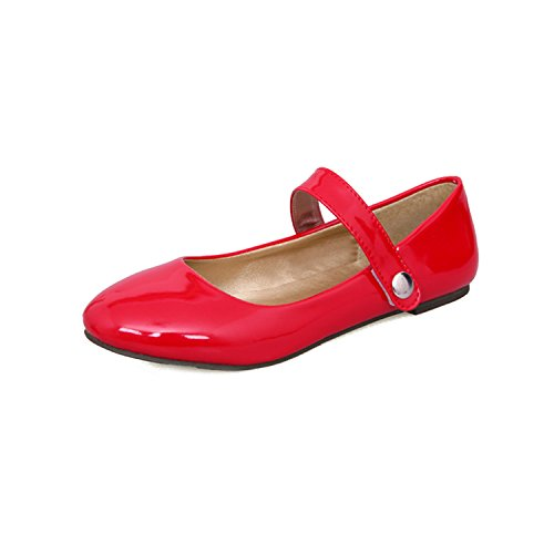 Biggest Size 30-50 Mary Jane Hook&Loop Dating Round Toe Insole Spring Autumn Women Shoes Casual Flats Red 10.5 (Stores In Burlington Vt)