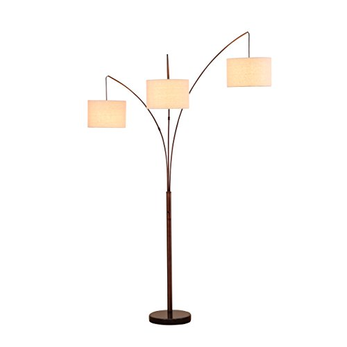 Families Light Floor Lamp (Brightech Trilage LED Arc Floor Lamp, Marble Base – 3 Arch/Arm, 3 Hanging Lights/Heads -Traditional Shade, Tall & Modern Standing Lamp- Classy & Contemporary for Living Room Office Bedroom- Bronze)