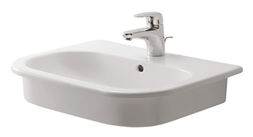 Duravit 0337540000 D-Code Single-Hole Countertop Vanity Basin, White Finish