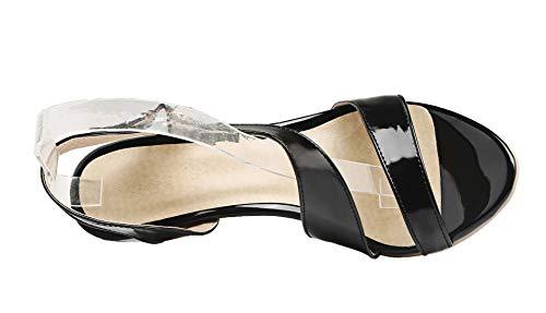 à AgooLar Talon Ouverture Correct Femme Couleur GMBLA012973 Sandales Unie d'orteil Noir Boucle UqwxfBIywT