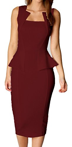 Made2envy Bodycon Midi Peplum Dress with Square Neck (M, Burgundy) C6150-MBR