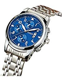 alendar Dial Calendar Wristwatch for Mens Steel Strip Quartz Men's Watch (KN1756L) ()