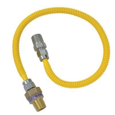 BrassCraft CSSL117E-24 X5 .5 in. MIP x .38 in. MIP x 24 in. SafetyPLUS Gas Appliance Connector with EFV Valve