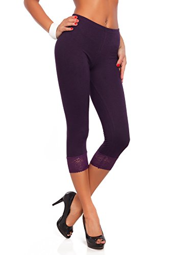 con de todos 4 Ciruela trenzado tamaños de los Fashion® 3 y Leggings algodón Futuro colores encaje q8apq
