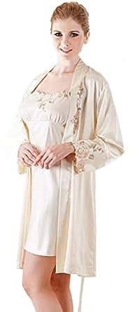 Silk Materials And Two Pieces, Elegant Design For Ladies Nightwear-cream Color