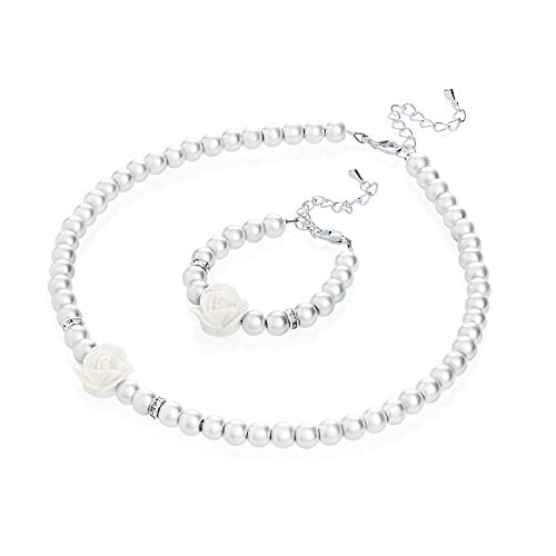 (Crystal Dream Flower Girl White Simulated Pearls Flower Necklace with Bracelet Toddler Gift Set (GSTNB2-W_M))