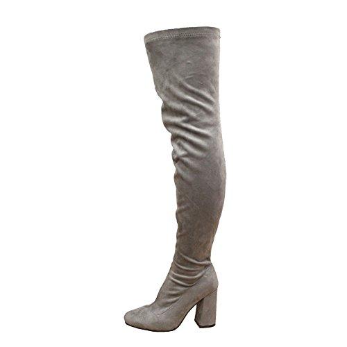 Haut Styles Du Genou Sauter Faire De Chaussures Cuisse Blocs La Grise Taille Des Sur Le 8 De De Partie Des 3 Des Femmes Du Tendu Talon zzqrxaw6