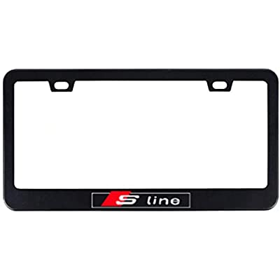 Deselen - LP-BS06P - Stainless Steel S-Line License Plate Frame with Screw Caps Cover Set for Audi S line, Black (2 Pieces): Automotive