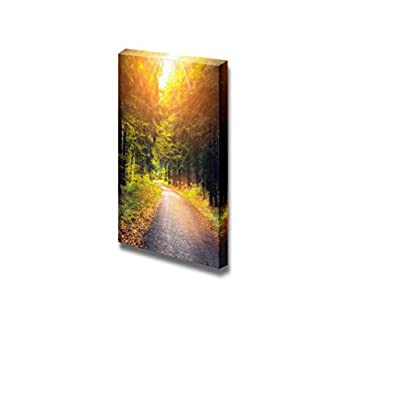 Canvas Prints Wall Art - Beautiful Scenery/Landscape Road in Autumn Forest at Sunset | Modern Wall Decor/Home Decoration Stretched Gallery Canvas Wrap Giclee Print & Ready to Hang - 18