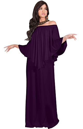 - KOH KOH Womens Long Strapless Shoulderless Flattering Cocktail Evening Off The Shoulder Cold Sexy Evening Flowy Formal Slimming Gown Gowns Maxi Dress Dresses, Purple L 12-14