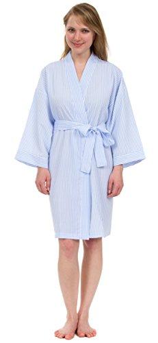 Classic Stripe Seersucker Short Robes (One Size, Classic Blue) (Stripe Kimono Robe)