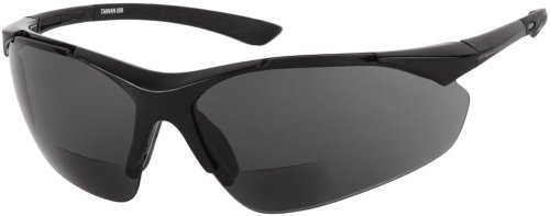 Readers.com The Montana Bifocal +2.00 Black Frame with Smoke Sun Lenses Unisex Sport & Wrap-Around Reading - Google.com Glasses