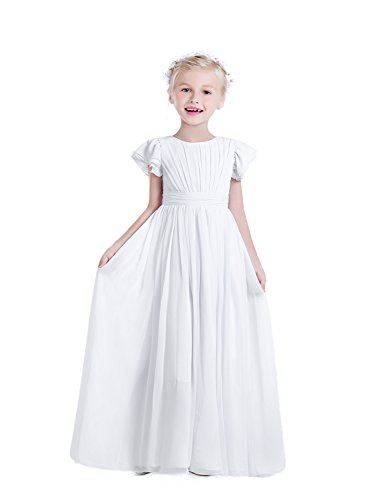 Castle Fairy Girls Holy Communion Long Gowns Pageant Junior Bridesmaid Evening Dresses 08 White ()
