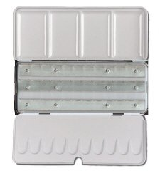 JAS : Empty Metal Watercolour Box : Holds 36 Half Pans or 18 Full Pans : with Fold-Out Palette by Academy