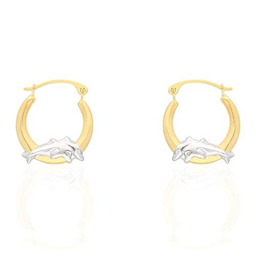 14k Yellow & White Gold Two-Tone Dolphin Hoop - Two Tone Dolphin