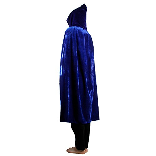 SUNYIK Unisex Kids Velvet Long Hooded Cloak Cape Halloween Party Role Cosplay Costumes,Blue,L -