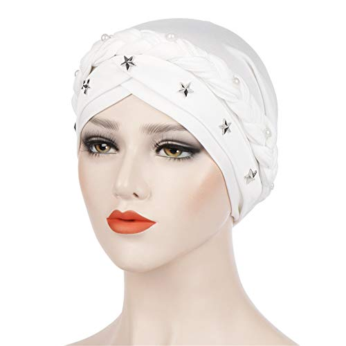 - BOOBODA Solid Color Beaded Star Decor Women Muslim Hijab Turban Head Scarf Cap Hat (White,Freesize)