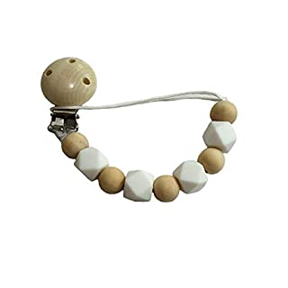 Alenybeby Baby Wooden Pacifier Clip Infant Pacifier Chain Toy Newborn Bracelet Baby Tooth Nursing Toys (Color 1-03)