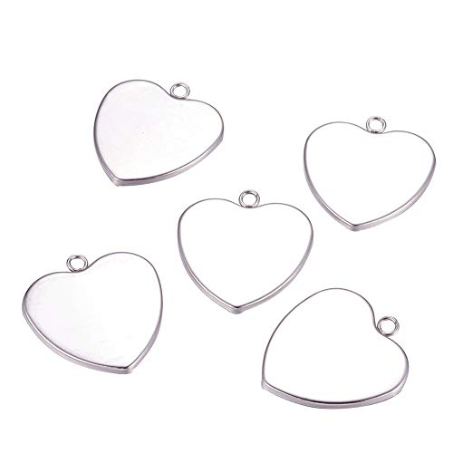 (PH PandaHall 50pcs Stainless Steel Heart Shape Pendant Trays Pendant Blanks Cameo Bezel Cabochon Settings for Photo Charm or Cabochon Tray: 28x29mm)
