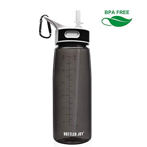 BOTTLED JOYSportsWaterBottlewithStraw, BPA Free DustProof Water Bottles for Camping Hiking 27oz 800ml (Black)
