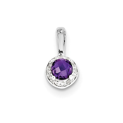 Sterling Silver Diamond Simulated Amethyst Pendant (8mm x 14mm)