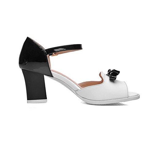 AmoonyFashion Womens Black Open Buckle Assorted Color Kitten Sandals Heels Toe rrpqSwR