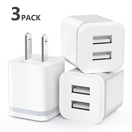 USB Wall Charger, LUOATIP 3-Pack 2.1A/5V Dual Port USB Cube Power Adapter Charger Plug Charging Block Replacement for iPhone Xs/XR/X, 8/7/6 Plus, Samsung, LG, HTC, Moto, Android