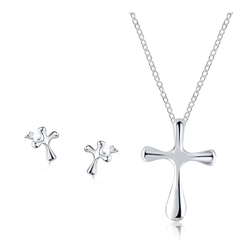 (Majesto 925 Sterling Silver Plated Cross Pendant Necklace Stud Earrings Set for Women Teen Girls Prime Gift)
