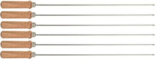 SAVI Stainless Steel Tandoor/Barbeque Skewers (Silver, 15-inch) - Set of 6 Pieces