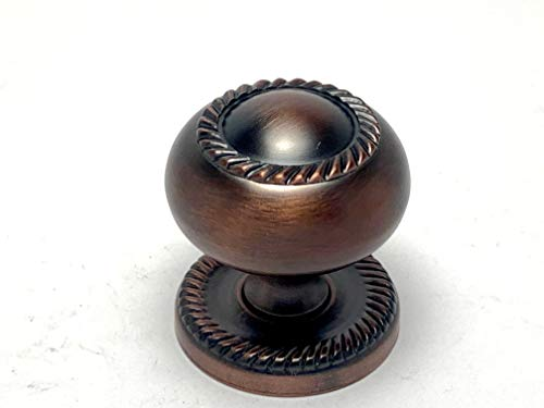 """Sonoma Cabinet Hardware Solid Brass Venetian Bronze Rope Design Knob with Backplate Coventry Collection New 1.25"""" Diameter"""