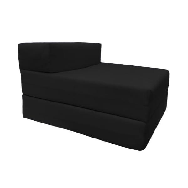 Ready Steady Bed Lit D'appoint Pliant Simple 100% Coton Confortable de Qualité Sublime | Futon Siège de Couleur Noire | Doux et Léger avec Une Housse Amovible (Black)