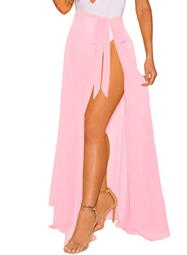 LIENRIDY Women's Chiffon Swimsuit Beach Swimwear Wrap Solid Color Bikini Sarong Pink Long Plus Size