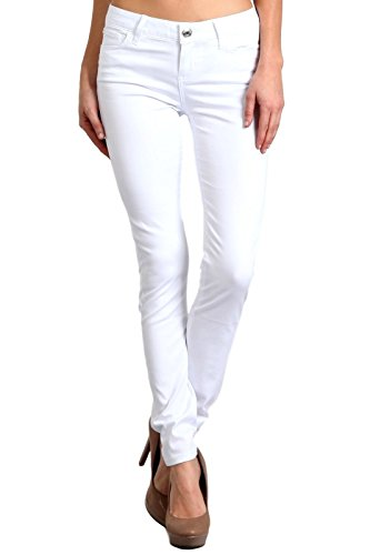 Celebrity Pink Women's Mid Rise Colored Skinny Pants 7 White (7 Jeans Womens Juniors Pants)