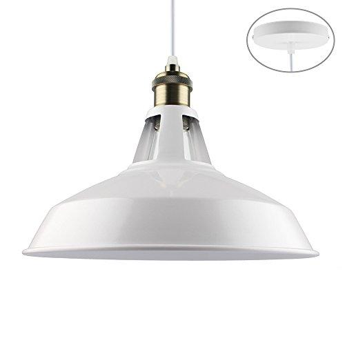 B2ocled Retro Kitchen Pendant Lighting Over Island Metal White Paint Large Hanging Light Fixture for Bar,1-Light,12 inch (Autumn Island Pendant)