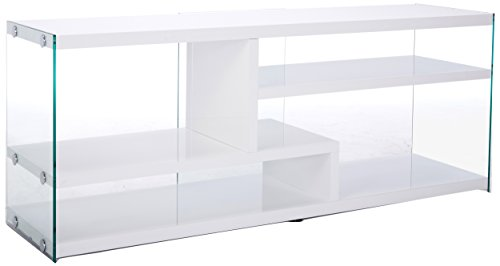Monarch Specialties I 2690 Glossy White with Tempered Glass TV Stand, 60