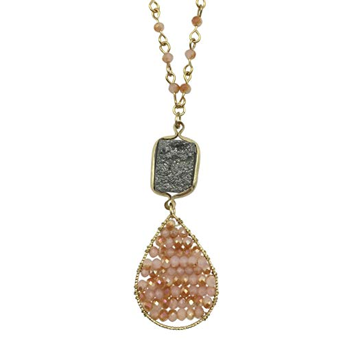Natural Stone Druzy Drusy & Glass Beaded Simple Small Dainty Boutique Gold Tone Chain Necklace - Assorted Colors (Grey & Pink)
