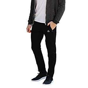 SCR SPORTSWEAR Men's Soccer Track Training Pants Athletic Sweatpants with Zipper Pockets Black Heather Grey Short Long Inseam 21