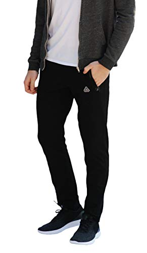 Slim Track - SCR Sportswear Men's Soccer Track Training Pants Athletic Sweatpants Black Long (Medium x 30L)
