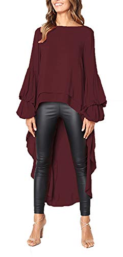PRETTYGARDEN Women's Lantern Long Sleeve Round Neck High Low Asymmetrical Irregular Hem Casual Tops Blouse Shirt Dress (Wine Red, Large) (Sweater Dresses Boots)