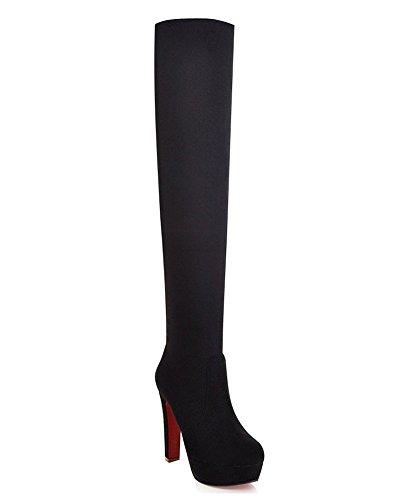 Negro Redonda De La Alto Zapatos Moda Tacón Puntera Invierno Mujer Suede Botas Botas Rodilla Minetom wqI46Pxx